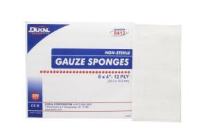 "Non-Sterile, Gauze Sponge,  8"" x 4"", 12-ply"