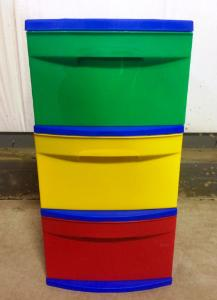 Bin, Three Color with Casters, 3-Drawer