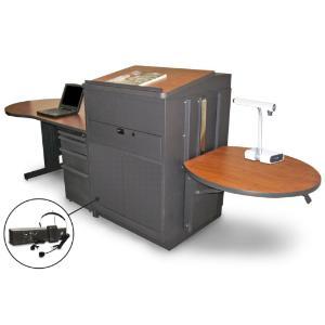 Teacher's Desk with Media Center, Lectern, Adjustable Height Work Platform, and File Storage, Marvel