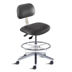 Biofit Bridgeport series ergonomic chair, medium seat height range, adjustable footring, aluminum base and casters