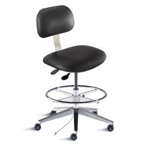 Biofit Bridgeport series static control chair, medium seat height range, adjustable footring, aluminum base and casters