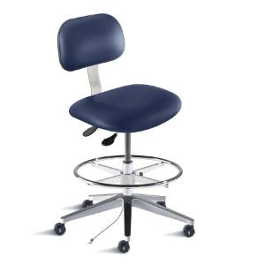 Biofit Bridgeport series static control chair, medium seat height range, adjustable footring, aluminum base and casters; grounded Navy Upholstery