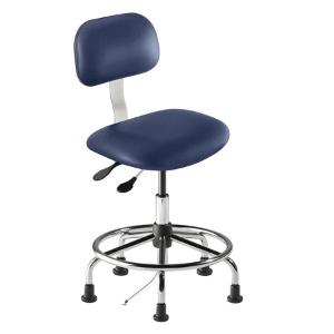 Biofit Bridgeport series static control chair, medium seat height range with steel base, affixed footring and glides