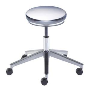 Biofit Traxx series ISO 4 cleanroom stool, Low seat height range with aluminum base and casters