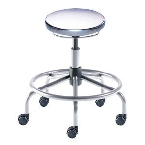 Biofit Traxx series ISO 4 cleanroom stool, Low seat height range with steel base, affixed footring and casters