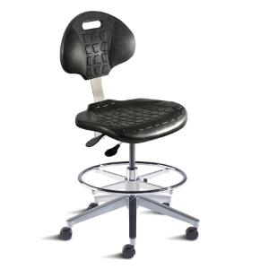 Biofit UniqueU series ergonomic chair, medium seat height range with aluminum base, adjustable footring and casters