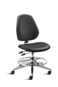 BioFit MVMT Tech Series Chair with Classic 5-Star Wide Aluminum Base, Medium Bench Height, Tall Backrest, Black Vinyl Upholstery, Adjustable Footring, Casters and Technical Performance Package.