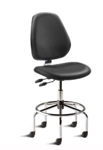 BioFit MVMT Tech Series Chair with Heavy Duty Tubular Steel Base, High Bench Height, Tall Backrest, Black Vinyl Upholstery, Affixed Footring, Casters and Technical Performance Package.