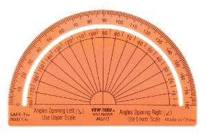 """Protractor, Orange, Separated Scales, 180 degrees, 4"""""""