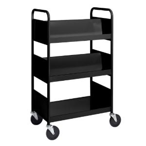 Black Cart with Two Double-Sided Sloping Shelves, One Flat-Bottom Shelf