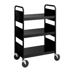 Black Cart with Three Flat Shelves