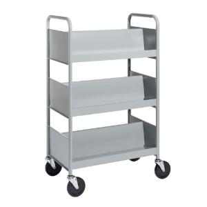 Gray Cart with Three Double-Sided Sloping Shelves
