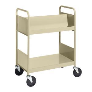Almond Cart with One Double-Sided Sloping Shelf, One Flat Bottom Shelf