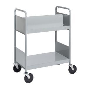 Gray Cart with One Double-Sided Sloping Shelf, One Flat Bottom Shelf