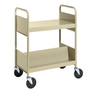 Almond Cart with One Flat Top Shelf, One Double-Sided Sloping Shelf