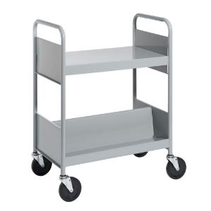 Gray Cart with One Flat Top Shelf, One Double-Sided Sloping Shelf