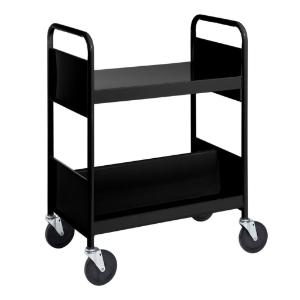 Black Cart with One Flat Top Shelf, One Double-Sided Sloping Shelf