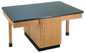 Student Tables with Cabinet, 4-Student, Plastic Laminate Surface