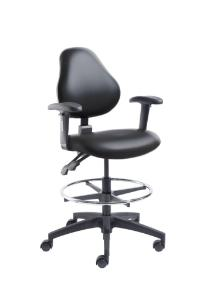 VWR® Upholstered Lab Chair with Arms, CAL 133, Bench Height, Dual Soft-Wheel Casters