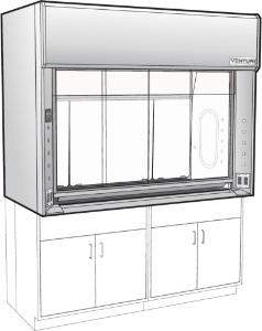 Venturi V06 General Purpose Bench Fume Hood with Combination Vertical Rising/Horizontal Sash, Type 316L Stainless Steel Liner, Kewaunee Scientific