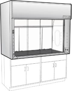 Venturi V07-General Purpose Bench Fume Hood with Horizontal Sash, Kemglass Liner, Kewaunee Scientific