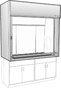 "Venturi V25 LX Series General Purpose Bench Fume Hoods with 28"" Vertical Rising Sash, Type 316L Stainless Steel Liner, Kewaunee Scientific"
