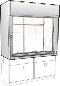 "Venturi V26 LX Series General Purpose Bench Fume Hoods with 28"" Combination Vertical/Horizontal Sash, Type 304L Stainless Steel Liner, Kewaunee Scientific"