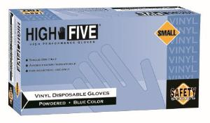 High Five Industrial Grade Blue Disposable Vinyl Gloves Lightly Powdered Microflex