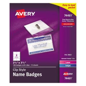Avery® Name Badge Holders with Laser/Inkjet Inserts