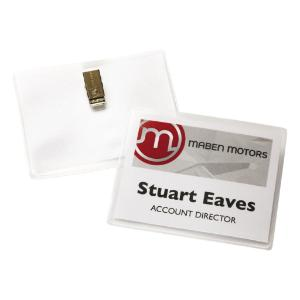 Name badge holders with laser/inkjet inserts